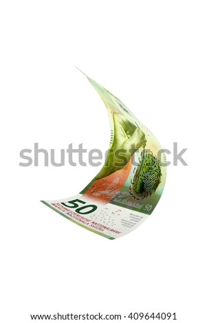 Flying Swiss money  - 50 francs note isolated with clipping path