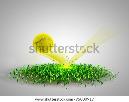 flying tennis ball scores - stock photo