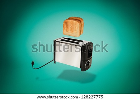 Flying Toaster Popping Out Toast Pop-up Pop Up Levitating Jumping Toast - Aqua Green Aquamarine - stock photo