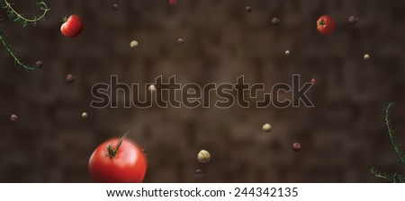 flying tomatoes food white splash concept billboard template dynamics - stock photo