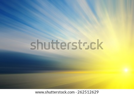 Flying towards to the sun. Imitation of high-speed traffic to the sun. abstract composition - stock photo