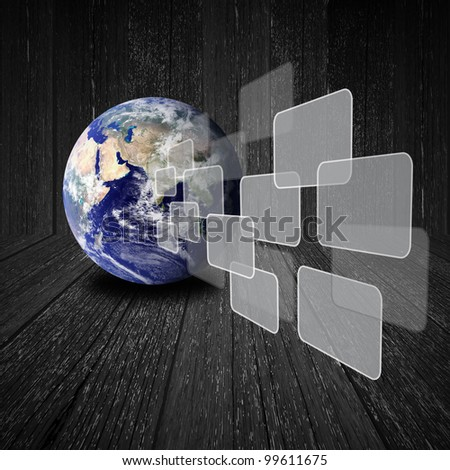 Flying transparent button with earth globe on wood background : Elements of this image furnished by NASA - stock photo