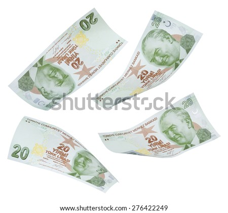 Flying 20 Turkis Liras on white background  - stock photo