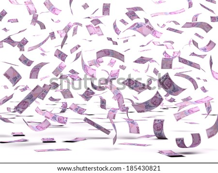 Flying Turkish Lira (isolated with clipping path)
