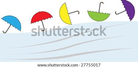 Flying umbrellas - stock photo