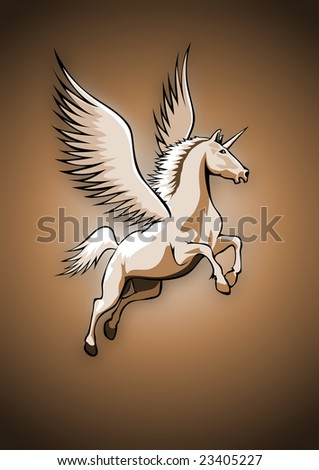 Flying Unicorn, brown colored