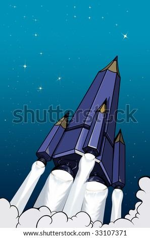 Flying up rocket-pencil - stock photo