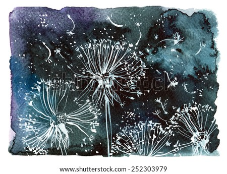 flying white dandelions on a black background/ watercolor illustration - stock photo