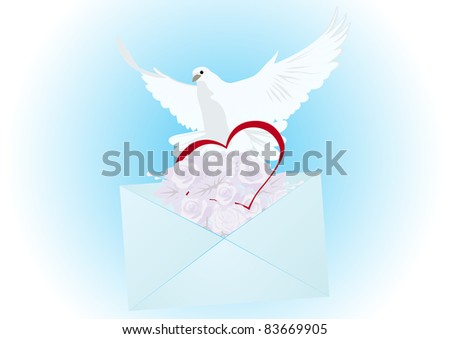 Flying white dove, an envelope with a letter and flowers and heart. The illustration on blue background. - stock photo