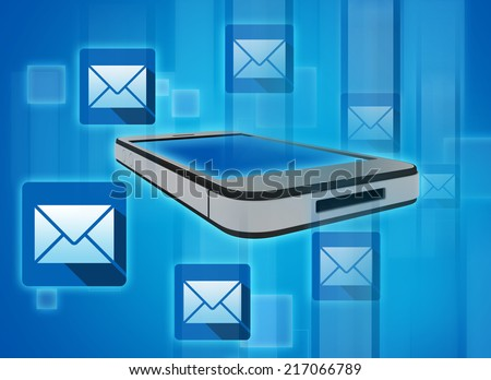 Flying will address near the phone, symbolizing the reception of messages - stock photo