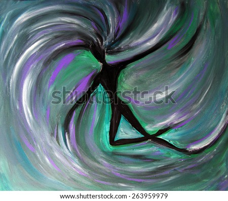 Flying woman, Lilith, oil painting - stock photo