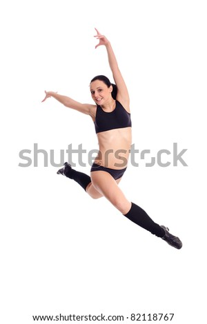 Flying woman with funny grimace isolated on white - stock photo