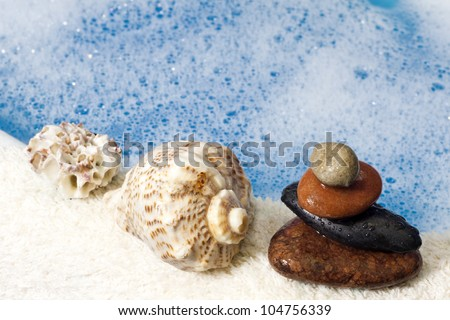 foam and water , towel abstract bath background - stock photo