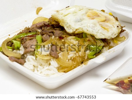 foam take out container thai food - stock photo