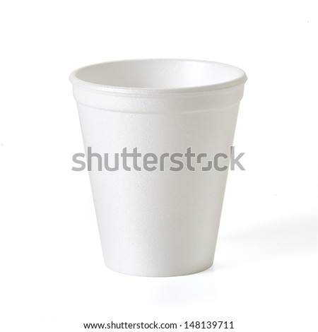 Foam takeaway cup with clipping path - stock photo