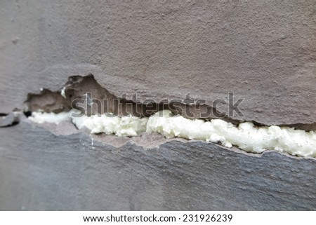 Foamed wall crack - stock photo