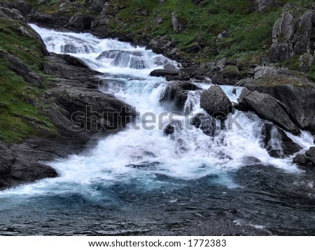 Foaming and powerful river - stock photo