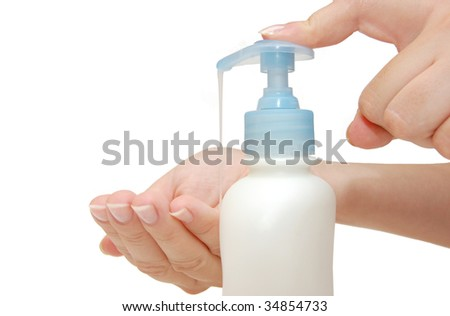 Foaming hand soap for washing - stock photo