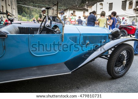 FOBELLO, ITALY - SEPTEMBER 3, 2016: International classic car rally Lancia Lambda model, in Fobello, birthplace of Vincenzo Lancia, founder of the car company. This model was produced until 1931.