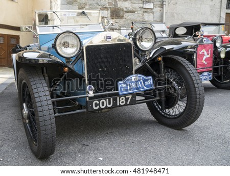 FOBELLO, VALSESIA / ITALY - SEPTEMBER 3, 2016: Classic car, a Lancia Lambda model, during an antique car rally. This model was produced from 1923 to 1931.
