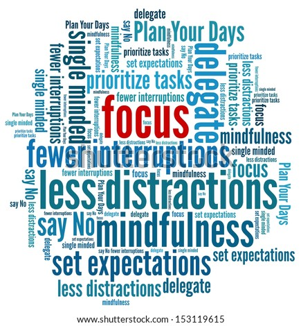 Focus at Work in word collage - stock photo
