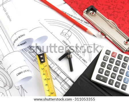 Focus bolt, Calculator and pencil and measuring tape and bolt on plans