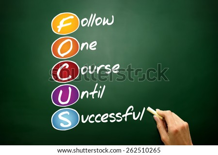 FOCUS, business concept acronym on blackboard - stock photo