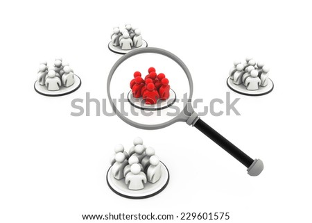 Focus Group. People with Magnifying glass - stock photo