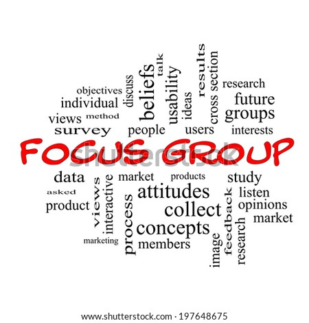 Focus Group Word Cloud Concept in red caps with great terms such as research, users, listen and more.