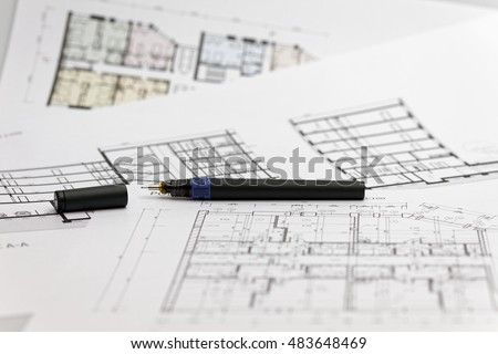 Ruler tube special pens lay down stock photo 481152973 shutterstock focus on a blueprint with a special pen ruler and tube malvernweather Images