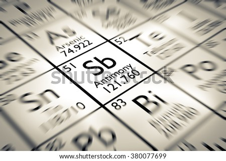 Focus on Antimony chemical element from the Mendeleev periodic table