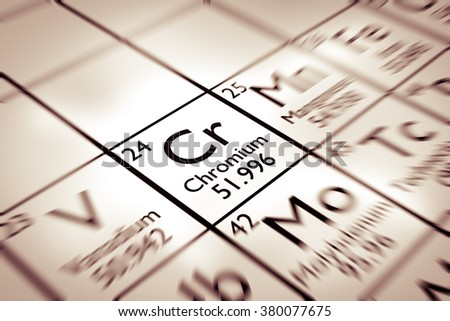 Focus on Chromium chemical element from the Mendeleev periodic table - stock photo