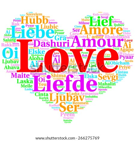 Focus on English: Love. Word cloud in heart shape on white Background. saying thanks in multiple languages. - stock photo