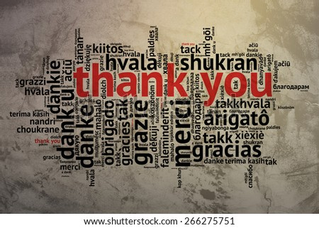 focus on English: Thank you. Word cloud in open form on Grunge Background. saying thanks in multiple languages. - stock photo