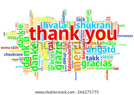 focus on English: Thank you. Word cloud in open form on white Background. saying thanks in multiple languages. - stock photo