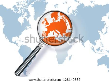 focus on Europe - stock photo