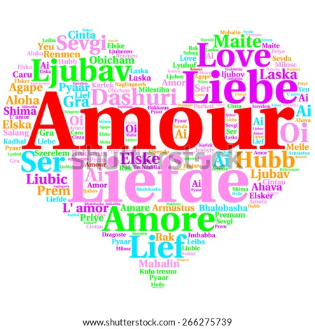 Focus on French: Amour. Word cloud in heart shape on white Background. saying thanks in multiple languages.
