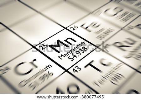 Focus on Manganese chemical Element from the Mendeleev periodic table