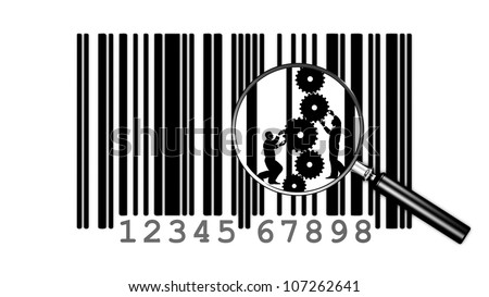 Focus on men, who, behind the bar code, work on product development - stock photo