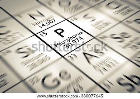 Focus on Phosphorus chemical Element from the Mendeleev periodic table - stock photo