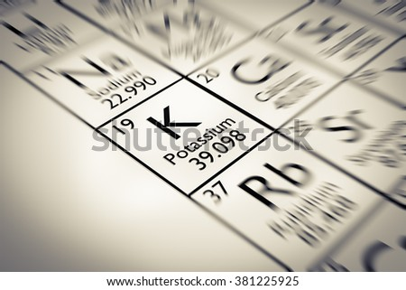 Focus on Potassium Chemical Element from the Mendeleev periodic table - stock photo