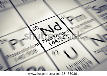 Focus on rare earth Neodynium Chemical Element