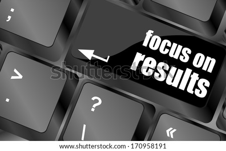 Focus on results button, computer keyboard key - stock photo