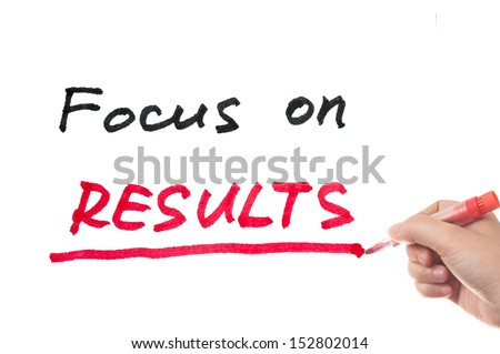 Focus on results words written on white board