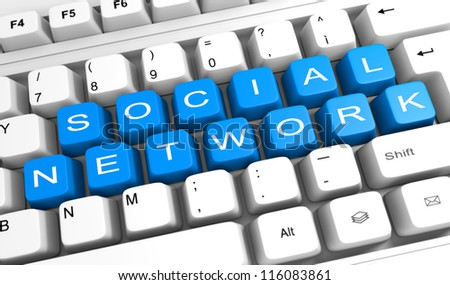 focus on social network - stock photo