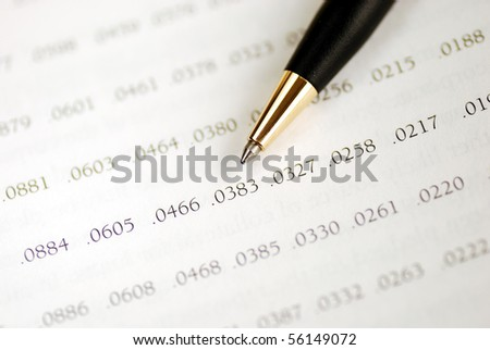 Focus on the amortization table for a loan - stock photo