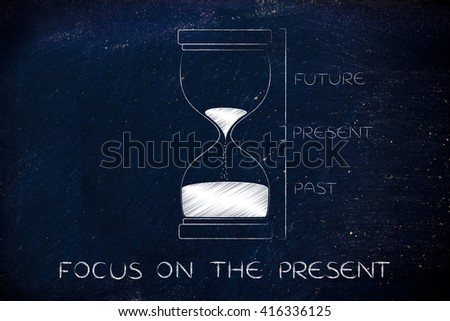 focus on the present: hourglass with past, present and future captions, concept of time management and living life to the fullest - stock photo