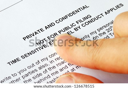 Focus on the privacy and confidential issues - stock photo