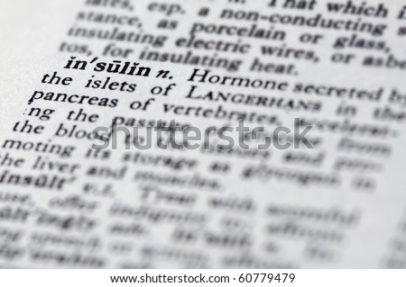 focus on the word insulin - stock photo