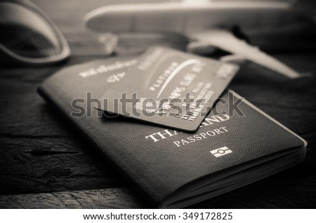 Focus passports, credit card, placed the concept of current spending - still life tone vintage  - stock photo